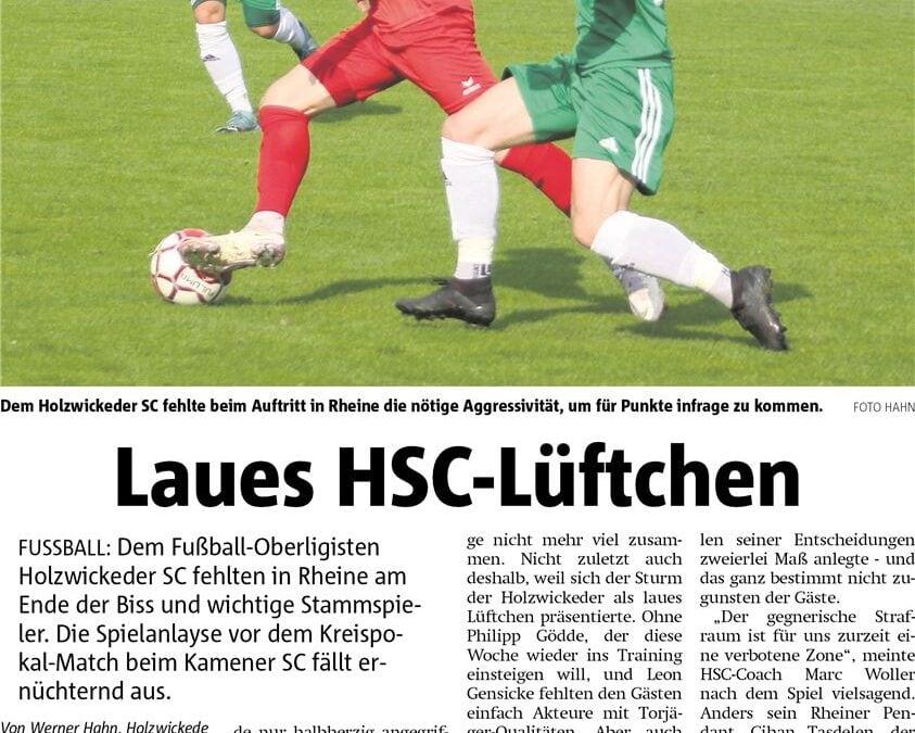 HSC verliert in Rheine – Mittwoch Pokal in Kamen